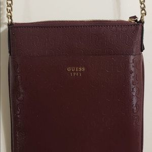 GUESS Maroon Gold Chain Sidebag